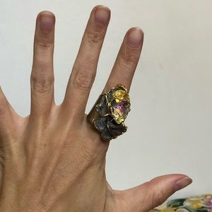 Jewelry - Chunky Amethyst and Crystal Geode Wire Ring